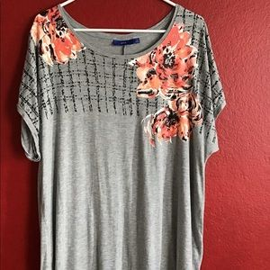 NWOT grey w/ flowers shirt